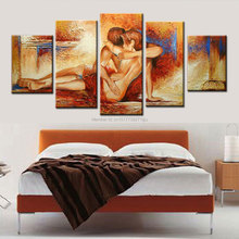 handmade indoor decorative canvas oil painting nude couple in love modern home decor sex passion lovers art picture for bedroom(China (Mainland))