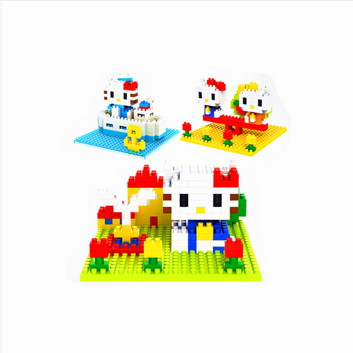 1pcs Hello Kitty Cat Minifigures Minecraft Building Blocks Fountain Navy Seesaw Kimono DIY 6cm Girl Action Figure Kids Toy(China (Mainland))