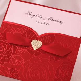 Vintage Theme Red Rose Wedding Invitation With Ribbon Heart Set Of 50 Printable And Customizable
