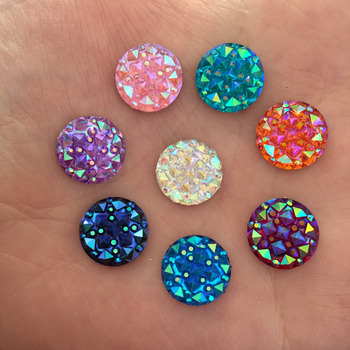 New (30 pieces/lot) 12mm MIXED Resin AB color Round FlatBack Appliques/wedding DIY craft D56A
