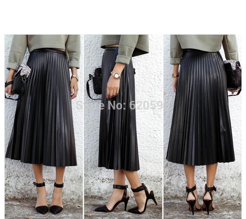 High Waisted Black Pleated Skirt