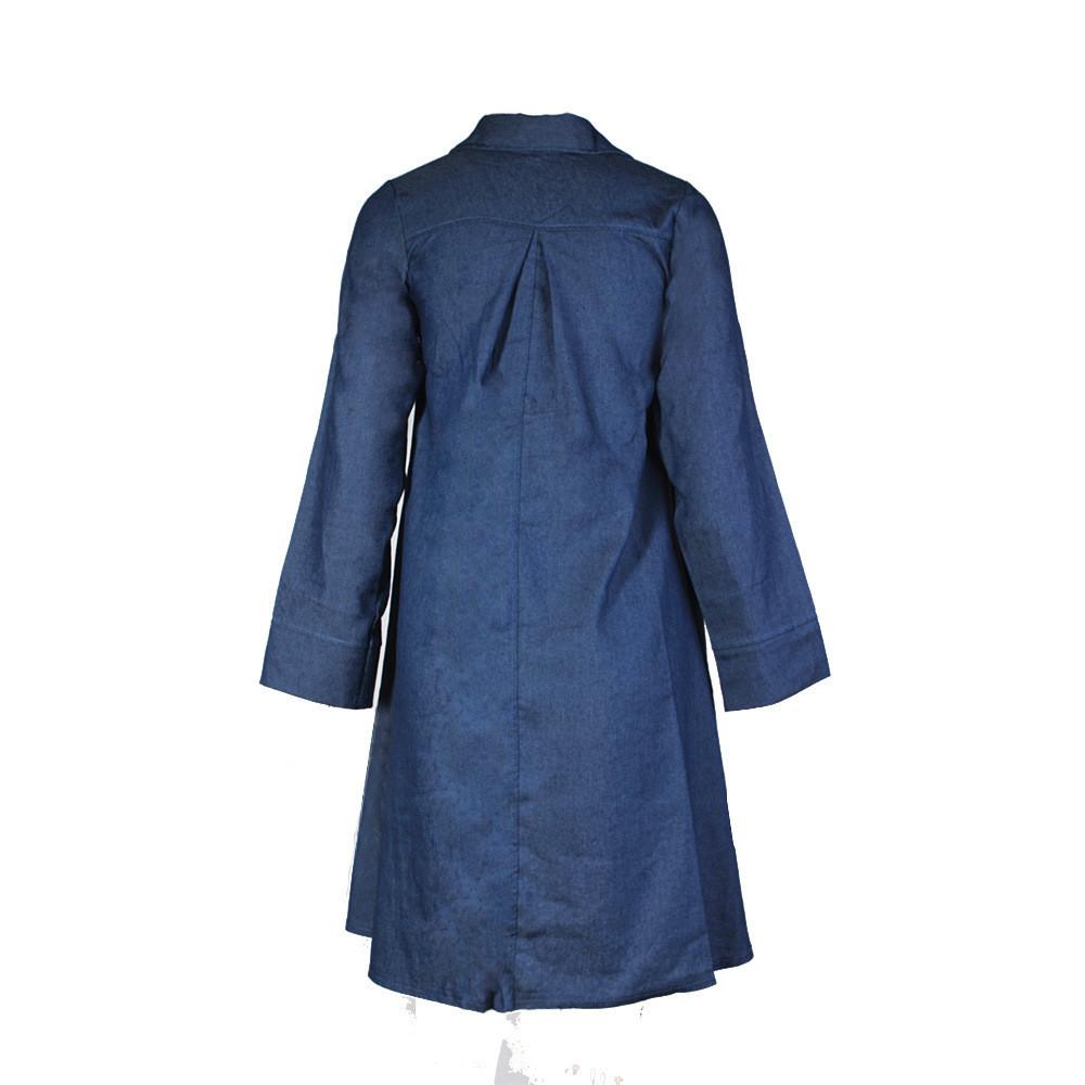 Elegant Casual Style Women Loose Dress 2016 Fashion Turn Down Neck Long Sleeve Denim Jeans Lady Shirt Dresses
