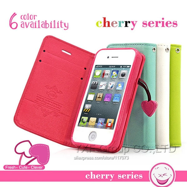 Luxury Cherry Series PU Leather Case For iPhone 5 5S 5C 4 4S Flip Cover Fashion Stand Wallet Pouch +Card Holder Holster YXF00292(China (Mainland))