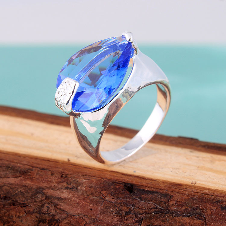 2015 new cheap silver rings us size 7 8 9 stock wholesale blue crystal best gift