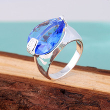 2015 new cheap silver rings us size 7 8 9 stock wholesale blue crystal best gift for friends stamped 925 free shipping