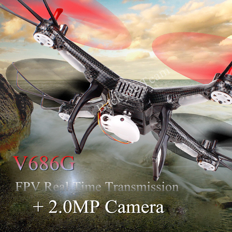 Child Best Gift Black V686G 4CH 5.8G FPV Real Time Transmission 2.4G RC Quadcopter+2.0MP Camera Headless Mode Auto(China (Mainland))