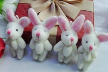 Mini 4CM Joint Long EAR Rabbit Plush Stuffed TOY DOLL Wedding Bouquet Candy BOX TOY DOLL ; Garment & Hair Accessories TOY DOLL(China (Mainland))