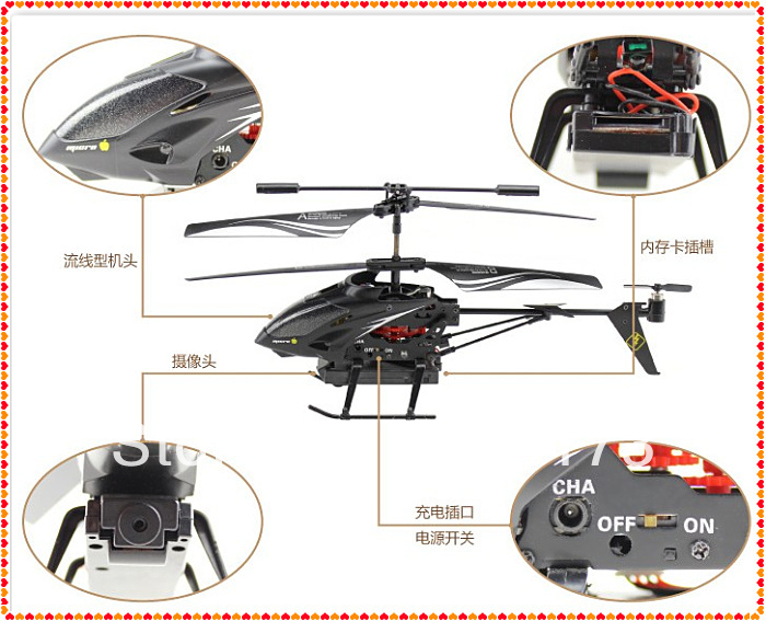 3.5 CH Radio remote control heli WL S977 Metal Gyro rc Helicopter With Camera USB Radio control(China (Mainland))