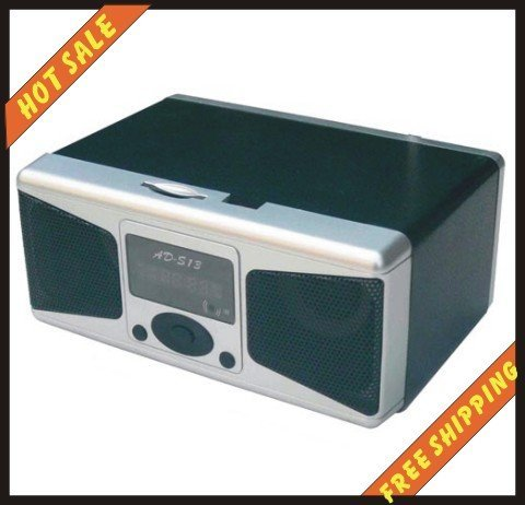 Free shipping--High quality and free shipping mini speaker system for cell phone computer MP3 MP4 player psp etc with FM -AD-S13