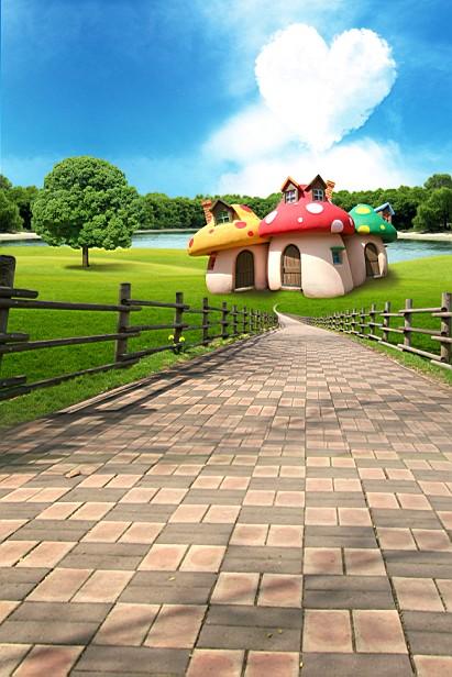 New arrival Background fundo Mushroom cloud house 600CM*300CM width backgrounds LK 3712<br><br>Aliexpress