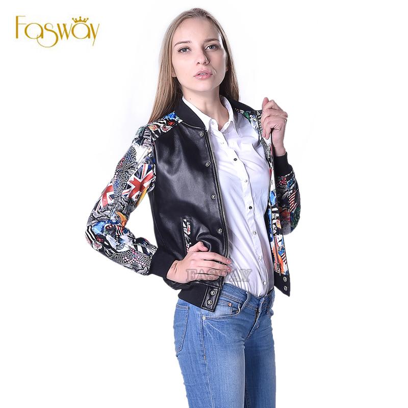 Factory Women's Leather Jacket Genuine Sheepskin Jackets Fashion Colored Sleeve Leather Jacket Women Leather Coat Autumn ZH024(China (Mainland))