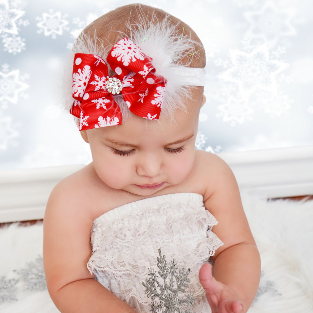Hair band children christmas red feather headband baby christmas dress
