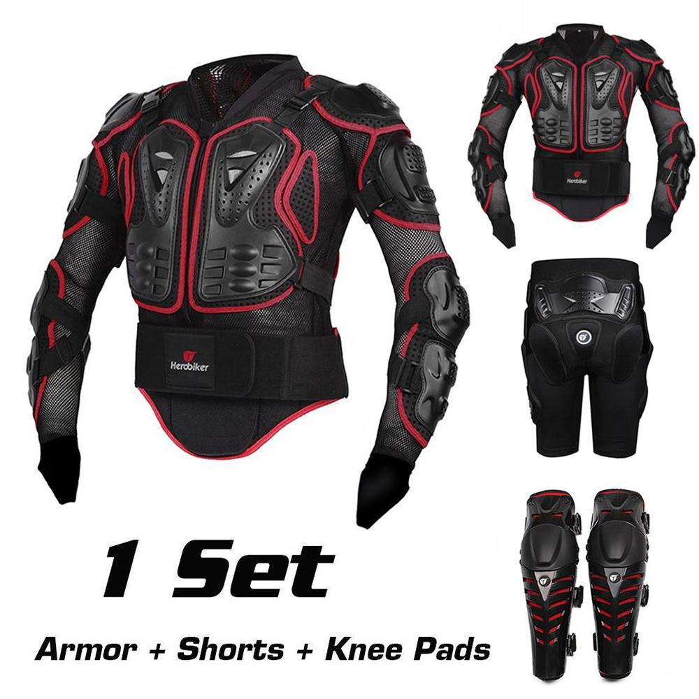 Motorcycle Motocross Off-Road Enduro ATV Racing Full Body Protective Gear Protector Armor Jacket + Hip Pads Shorts + Knee Pads(China (Mainland))