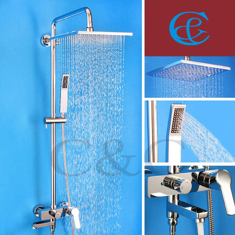 Bathroom Shower Mixer Tub Faucet Set Brass Hand Sliding Bar 10 inch Air Drop Rainfall Head - C&C Sanitary Ware Co., Ltd. store