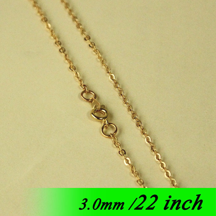 Metal For Jewelry Links Pendants 22  Gold Plated Fashion Hot 3mm Flat Cable Necklace Chaines With Round Clasps Connectors diy<br><br>Aliexpress