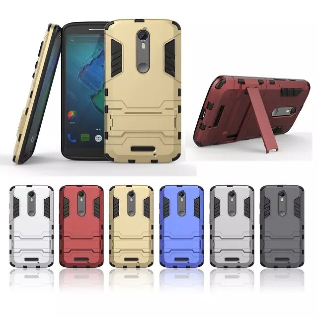 """Cover For Moto X Force Capa Silicone & Plastic Case For Motorola Moto X Force Case Droid Turbo 2 5.4"""" With Holder Stand Phone(China (Mainland))"""