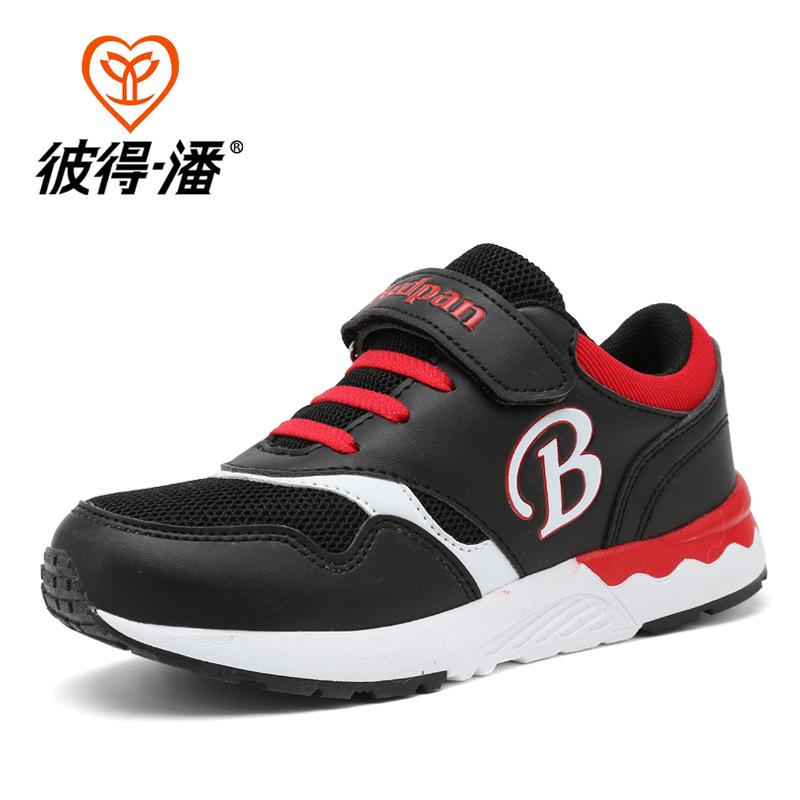 children casual shoes fashion patchwork air mesh leather design unisex shoes flat outdoor leisure breathable kids shoes BD-P815