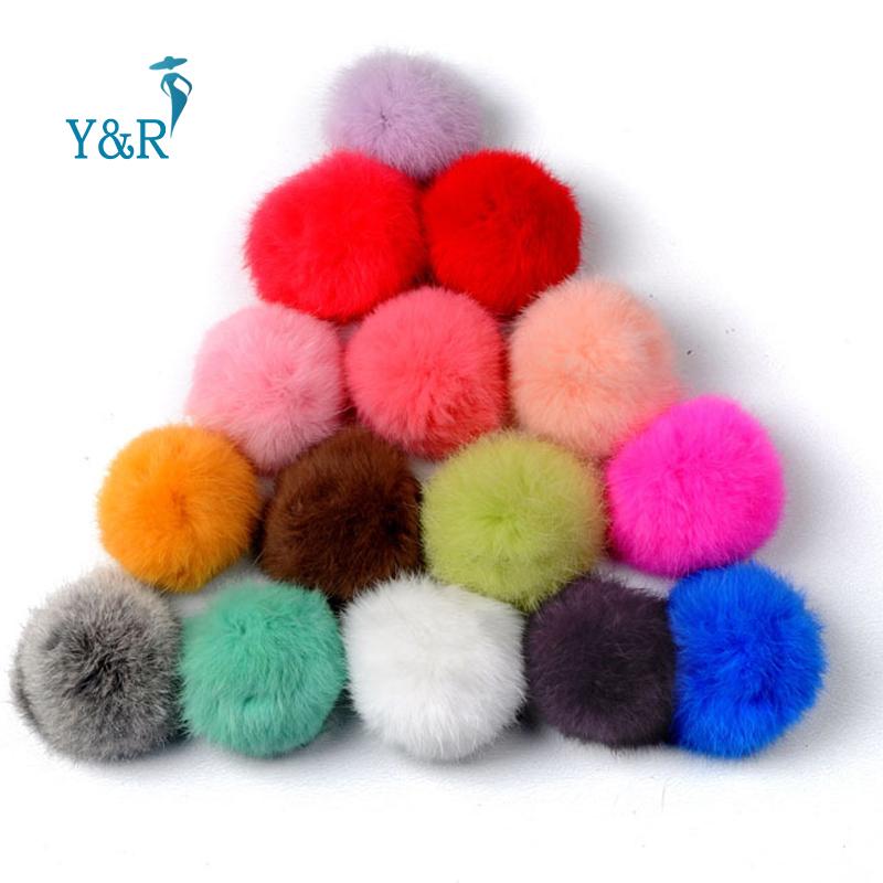 2016 New Rabbit Fur Ball Keychain12 Colors Highly 8CM Big Geniune Fur Ball Keyring Bag Charm fur ball pom pom Mobile keychain(China (Mainland))