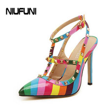 2015 Summer Hot Design Women's Rainbow High-Heeled Pumps Pointed Rivet Sandals Elegant Valentine PU Leather Party Salon Shoes(China (Mainland))