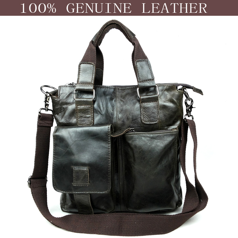 2015 New fashion brown 100% genuine leather bag brand designer vintage hanbags men, casual men's travel bags sac main marques
