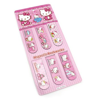 Free shipping,Hello Kitty magnetic bookmark Cute cartoon bookmarks novelty items Fridge Magnet Children gifts, 20set/lot 120pcs