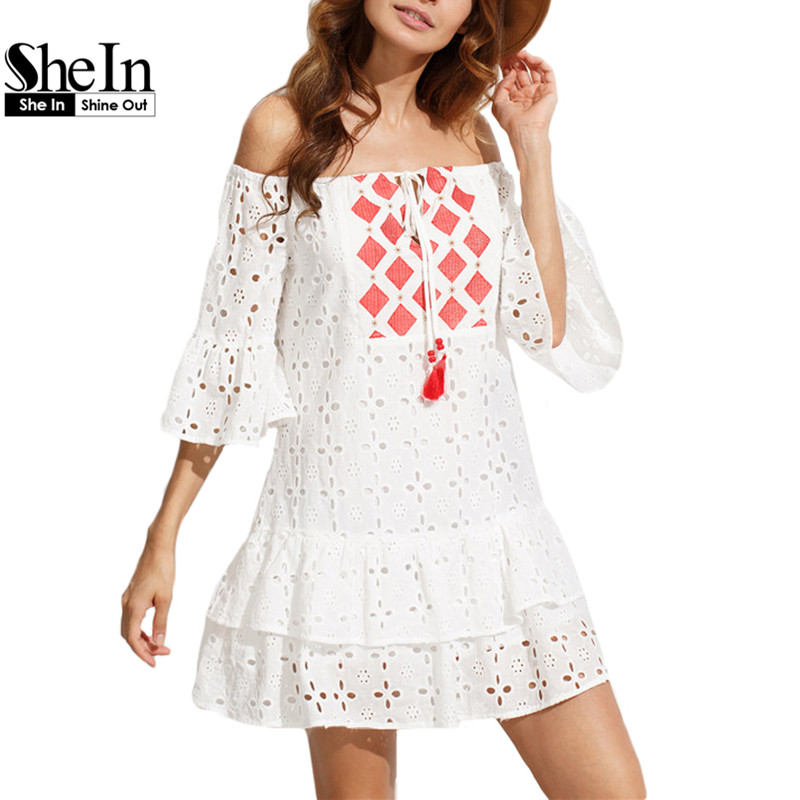 SheIn Ladies White Embroidered Tassel Tie Off The Shoulder Dresses Summer Half Flare Sleeve Hollow Out Shift Dress(China (Mainland))