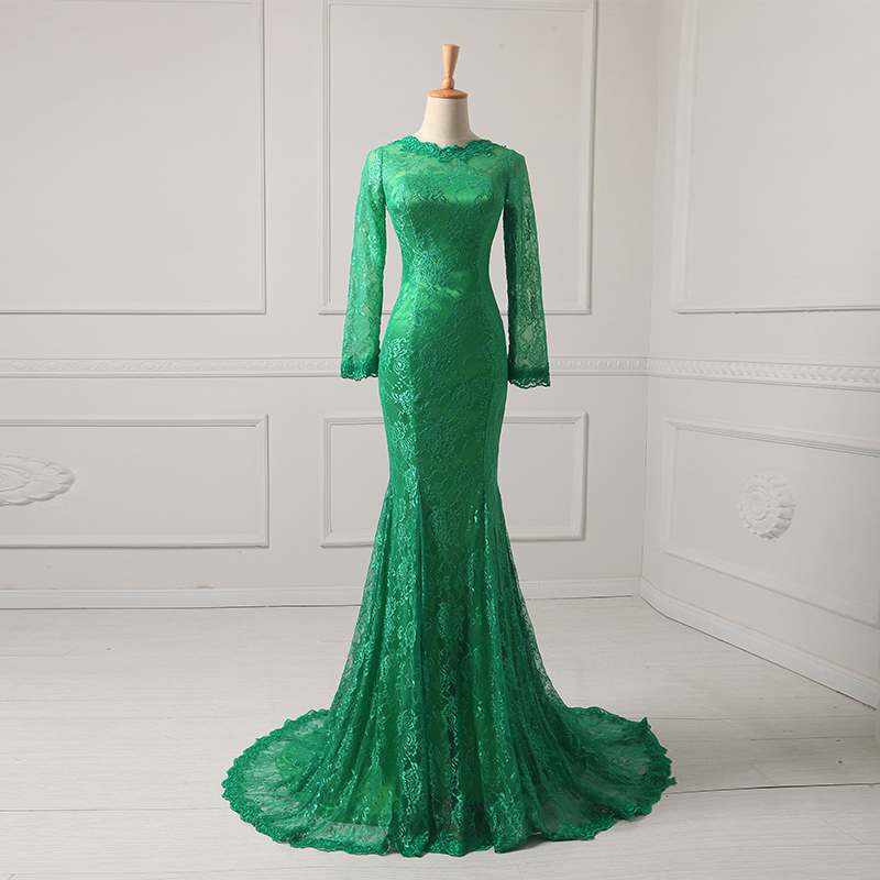 2016 Long Sleeves Arabic Evening Gowns Mermaid Lace Women Wedding Party Dresses Plus Size Custom Made Lady Evening Dresses(China (Mainland))