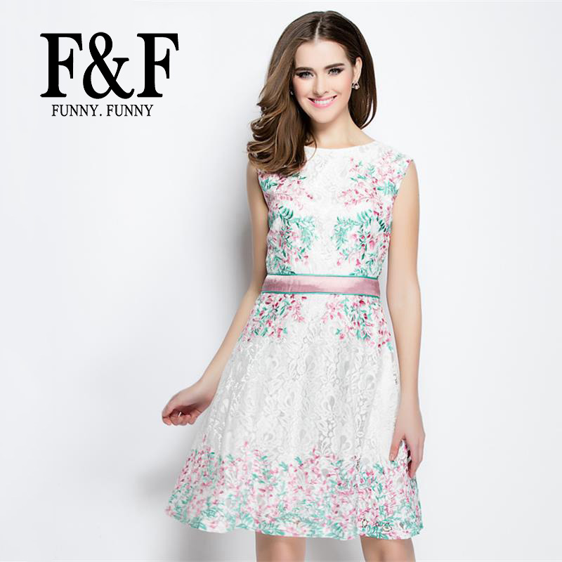 White Embroidery Floral Charming Spring women dresses 2016 New Fashion Design Boho Casual Lace Elegant Dress FunnyFunny