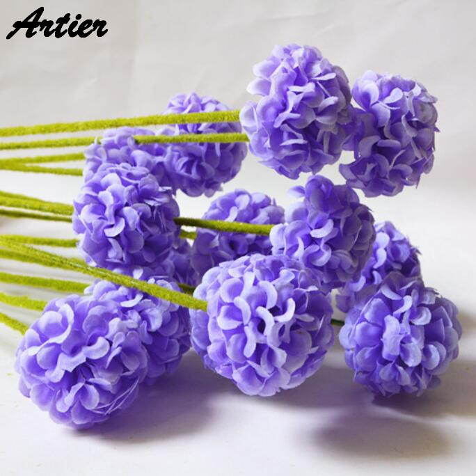 1Pcs 7color artificial hydrangea onion cone flowers 5 branch silk flower for home wedding decoration accessories AQ1018(China (Mainland))