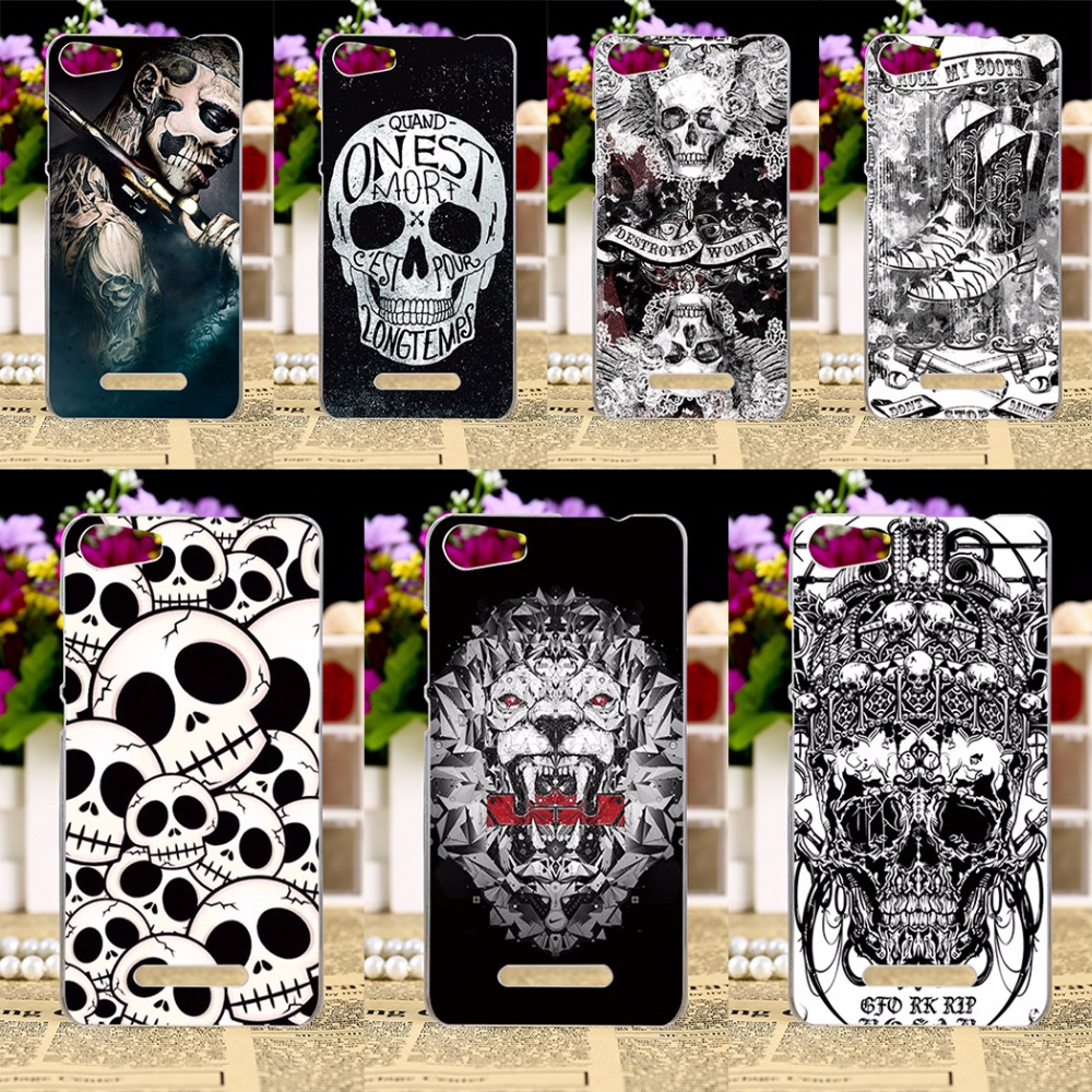 Phone Cases Wiko Lenny 2 II Lenny2 Back Cover Skin Shell Shield Soft Black White Skull Housing Hood Sheath Bag  -  Rajah 3C store