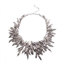 Newest 2015 Summer Design Vintage Statement Necklace Chunky Hot Fashion Alloy Jewelry Leaf Collare Mujer Fine Jewelry XG858