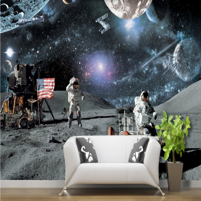 Free Shipping Custom living room bedroom mural moon lunar calendar lunar  rover galaxy science aerospace background wallpaper. High Quality Wallpaper Galaxy Promotion Shop for High Quality