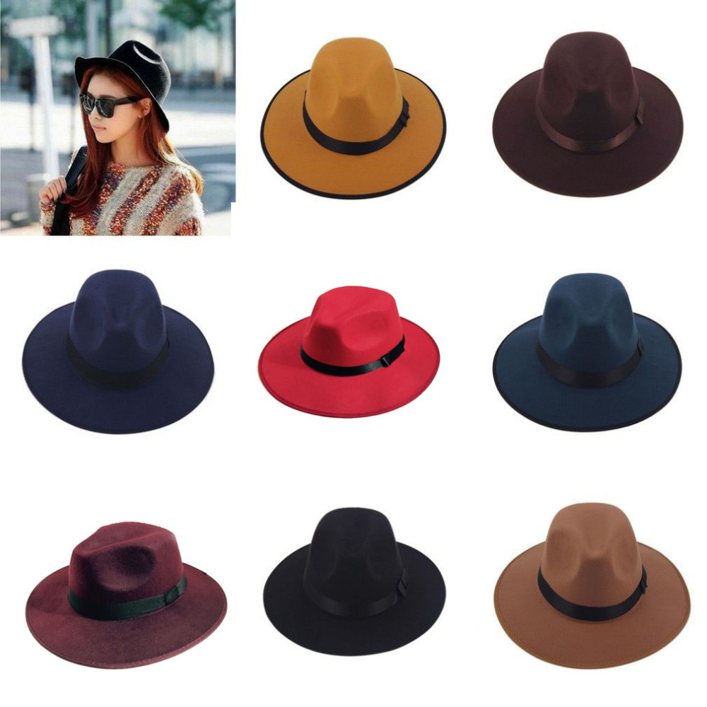 New Fashion Vintage Women Wide Brim Ribbon Warm Wool Blend Felt Hat Bowler Trilby Fedora Cap Cowboy Hat(China (Mainland))