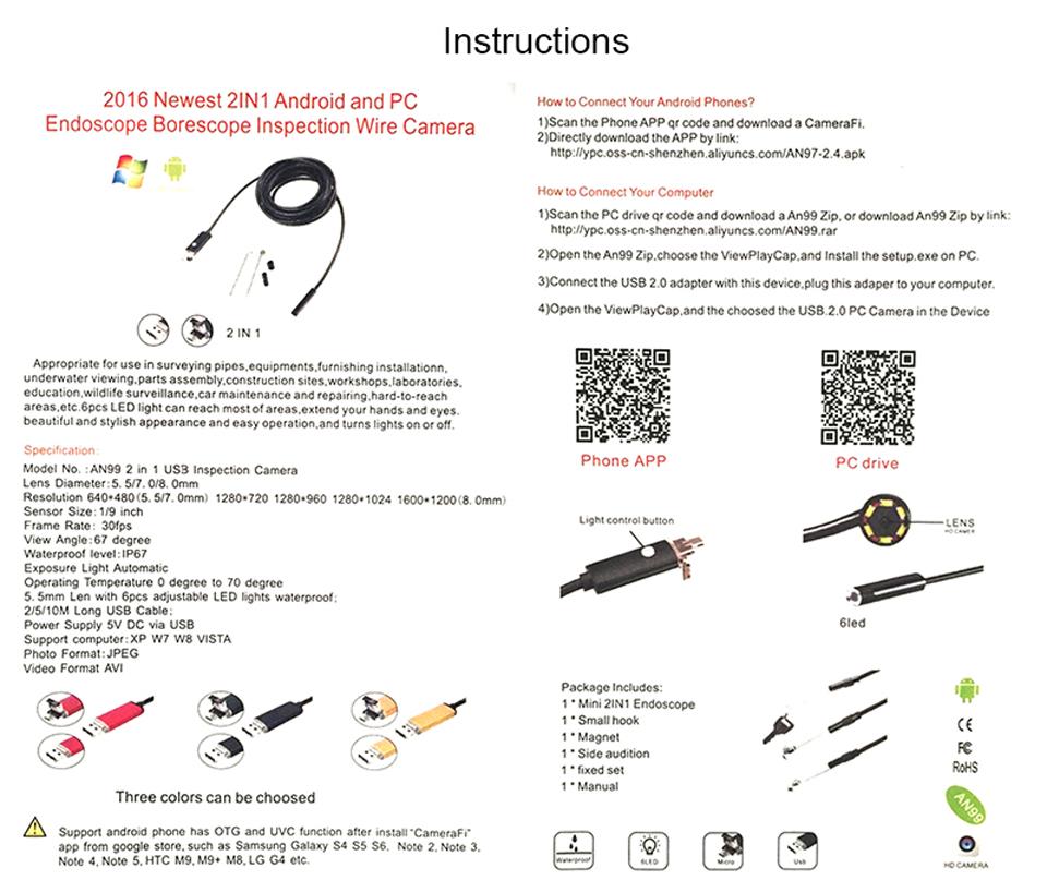 Antscope HD USB Endoscope Camera USB Android Endoscopic Camera Black 2m 5m 10m Android PC Boroscope USB Inspection Camera