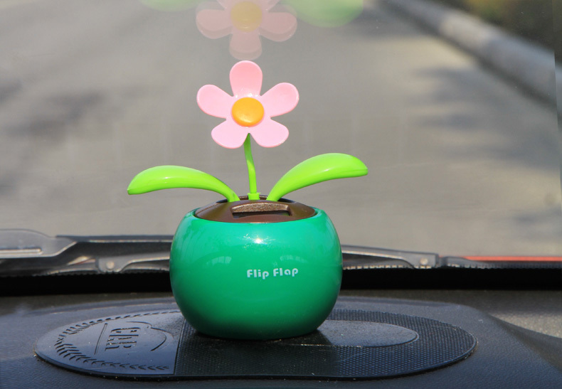 Solar Powered Dancing Sunflower Flip Flap Toy Flower Bug Bobble Plant Pot Swing for Car Display(China (Mainland))