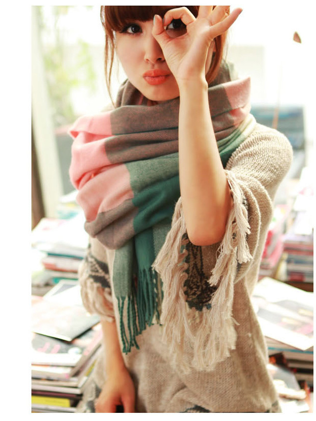 2015 New Fashion Woman Wool Scarf Casual Warmscarf Plaid Thick Scarves Knitted Scarf Women
