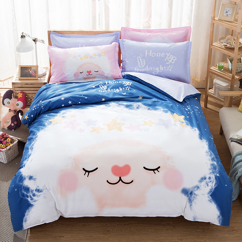100% cotton kids/adult cartoon blue and white bed set cute sheep duvet cover/bed sheets full queen size bedding set(China (Mainland))