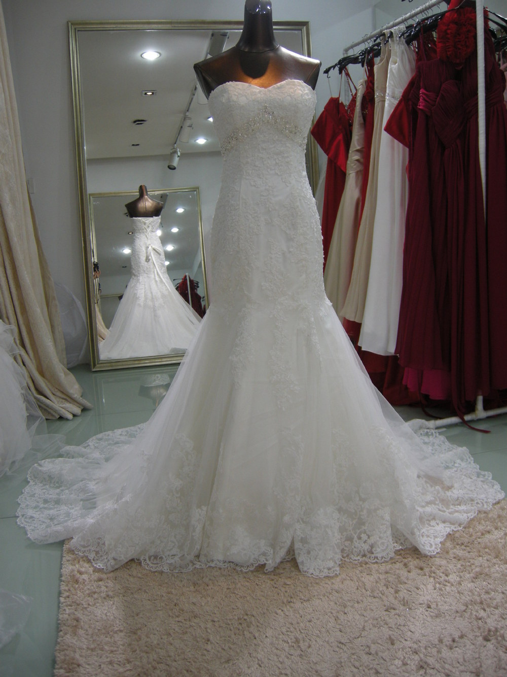 Plans To Customize Trade Selling Models Fishtail Royal Train Lace Up Wedding Dress Real Photo PZY04085(China (Mainland))