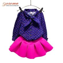 2015 2pcs/set autumn winter girl sweatshirt&blouse+cotton skirt clothing sets children clothes baby kids casual outfits size3-7T(China (Mainland))