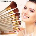 12pcs set Professional Wooden Cosmetics Makeup Brushes Set Brand Make Up Brushes Eyeshadow Eyeliner Lip Brush