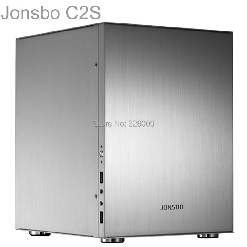 Jonsbo C2 Silver C2S HTPC ITX Mini computer case in aluminum support 3.5'' HDD USB3.0 Home theater computer(China (Mainland))