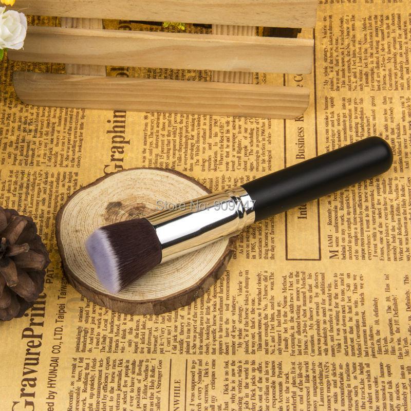 1pcs face makeup brush set powder blush contour foundation flat top brush for face cosmetics powder brush black silver(China (Mainland))