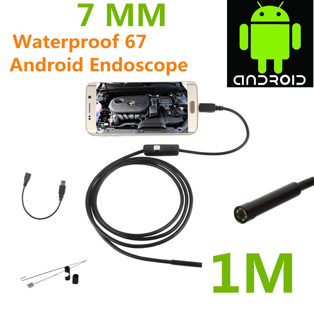 Endoscope Borescope USB Android Inspection Camera HD 6 LED 7mm Lens 720P Waterproof Car Endoscopio Tube mini Camera 1M Length(China (Mainland))
