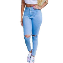 Hot Sale Ripped Jeans Woman High Waist Sexy Pencil Women Jeans Denim Elastic Skinny Pants Blue Jeans Plus Size Women Clothing