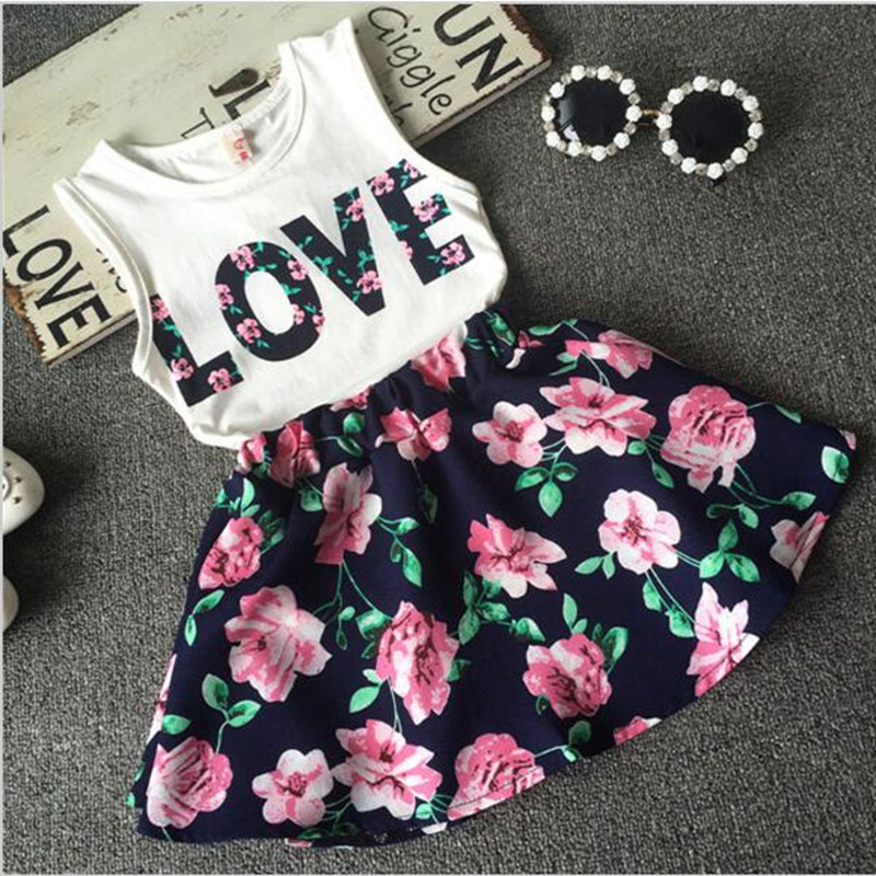 2016 New Fashion Girls Clothes ,Flower Vest + Shirt Skirt Tracksuit For Girls, Short Knitted Summer Children Girls Clothes(China (Mainland))