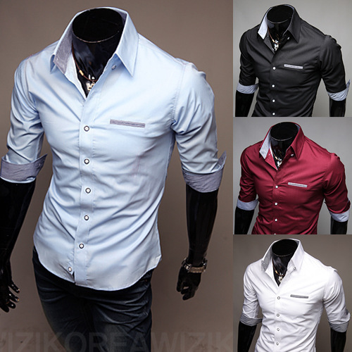 Mens dress shirts 2015 new summer style half sleeve shirts for Mens dress shirts with contrasting collars and cuffs