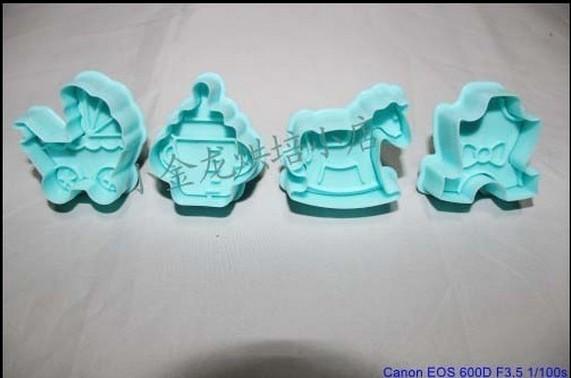Freeshipping 1set 4 pcs /set baby wood horse feeding bottle stroll cookies cutter set tools .free shipping Random Color 020053(China (Mainland))