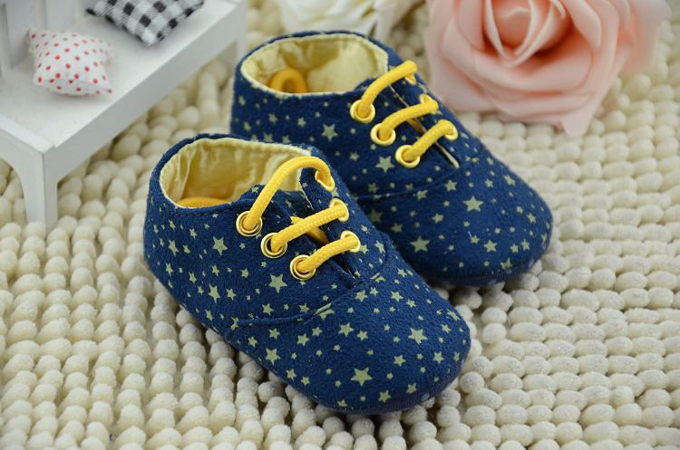 2015 New Fashion Newborn Baby Spring Autumn Soft Soled First Walkers Infant Toddler Boys Girls Yellow Star Shoes Footwear(China (Mainland))
