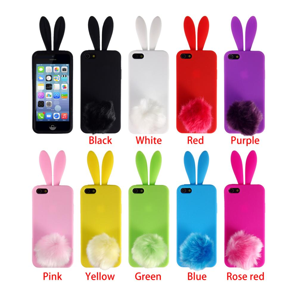 Fashion Design Silicone Rubber Lovely Bunny Rabbit   Back 3D Phone Skin Case Cover for iPhone 4 4s 5 5s(China (Mainland))