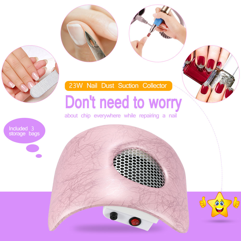 Pro 23W 2700rmp Nail Machine Fingernail Dirt Collection Machine Cleaning Tool for Nail Art Salon Nail Dust Suction Collector(China (Mainland))